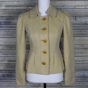 New Tabitha Yellow Flecked Peplum Jacket Size 0